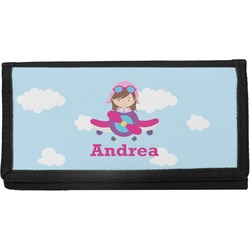 Airplane & Girl Pilot Canvas Checkbook Cover (Personalized)