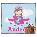 Airplane & Girl Pilot Outdoor Picnic Blanket (Personalized)