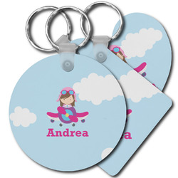 Airplane & Girl Pilot Plastic Keychains (Personalized)
