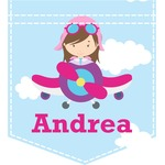 Airplane & Girl Pilot Iron On Faux Pocket (Personalized)