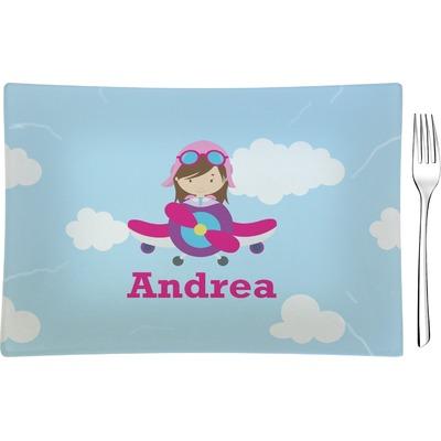 Airplane & Girl Pilot Rectangular Glass Appetizer / Dessert Plate - Single or Set (Personalized)