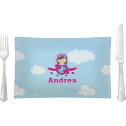 Airplane & Girl Pilot Glass Rectangular Lunch / Dinner Plate - Single or Set (Personalized)