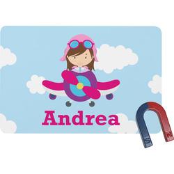 Airplane & Girl Pilot Rectangular Fridge Magnet (Personalized)