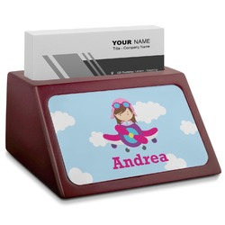 Airplane & Girl Pilot Red Mahogany Business Card Holder (Personalized)