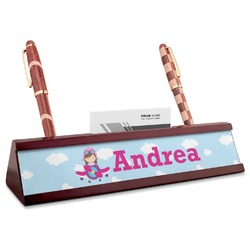 Airplane & Girl Pilot Red Mahogany Nameplate with Business Card Holder (Personalized)
