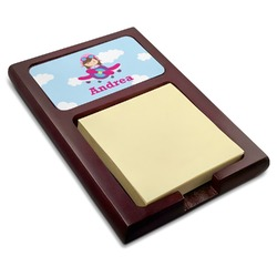 Airplane & Girl Pilot Red Mahogany Sticky Note Holder (Personalized)