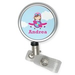 Airplane & Girl Pilot Retractable Badge Reel (Personalized)