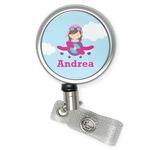 Airplane & Girl Pilot Retractable Badge Reel (Personalized)