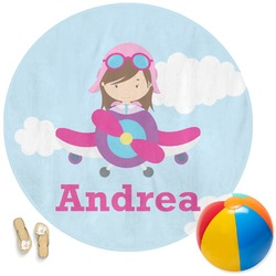 Airplane & Girl Pilot Round Beach Towel (Personalized)