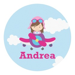 Airplane & Girl Pilot Round Decal (Personalized)