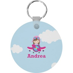 Airplane & Girl Pilot Round Keychain (Personalized)