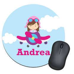 Airplane & Girl Pilot Round Mouse Pad (Personalized)