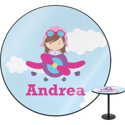 Airplane & Girl Pilot Round Table (Personalized)