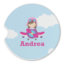 Airplane & Girl Pilot Sandstone Car Coasters (Personalized)