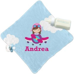 Airplane & Girl Pilot Security Blanket (Personalized)