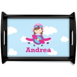 Airplane & Girl Pilot Black Wooden Tray (Personalized)