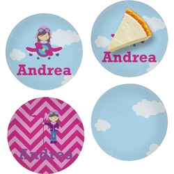 Airplane & Girl Pilot Set of Appetizer / Dessert Plates (Personalized)