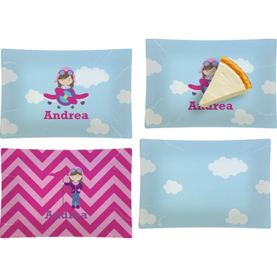 Airplane & Girl Pilot Set of 4 Glass Rectangular Appetizer / Dessert Plate (Personalized)