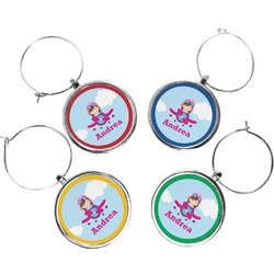Airplane & Girl Pilot Wine Charms (Set of 4) (Personalized)