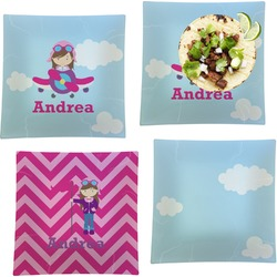 """Airplane & Girl Pilot Set of 4 Glass Square Lunch / Dinner Plate 9.5"""" (Personalized)"""