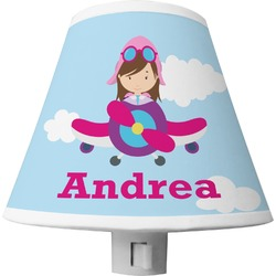 Airplane & Girl Pilot Shade Night Light (Personalized)