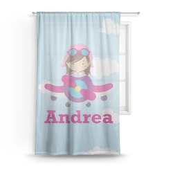 "Airplane & Girl Pilot Sheer Curtain - 50""x84"" (Personalized)"