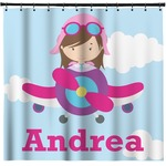 Airplane & Girl Pilot Shower Curtain (Personalized)
