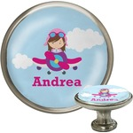 Airplane & Girl Pilot Cabinet Knob (Silver) (Personalized)