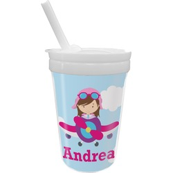 Airplane & Girl Pilot Sippy Cup with Straw (Personalized)