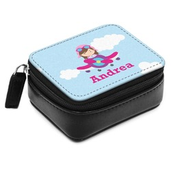 Airplane & Girl Pilot Small Leatherette Travel Pill Case (Personalized)