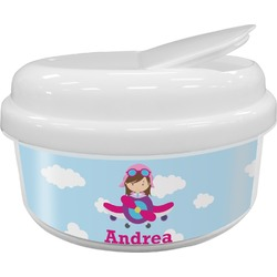 Airplane & Girl Pilot Snack Container (Personalized)
