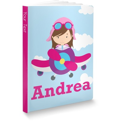 Airplane & Girl Pilot Softbound Notebook (Personalized)