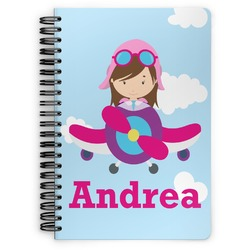 Airplane & Girl Pilot Spiral Bound Notebook (Personalized)