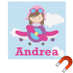 Airplane & Girl Pilot Square Car Magnet (Personalized)