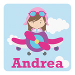 Airplane & Girl Pilot Square Decal (Personalized)