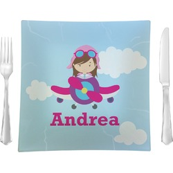 "Airplane & Girl Pilot Glass Square Lunch / Dinner Plate 9.5"" - Single or Set of 4 (Personalized)"
