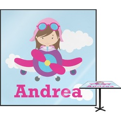 Airplane & Girl Pilot Square Table Top (Personalized)