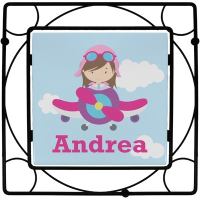 Airplane & Girl Pilot Square Trivet (Personalized)