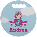 Airplane & Girl Pilot Stadium Cushion (Round) (Personalized)