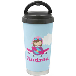 Airplane & Girl Pilot Stainless Steel Travel Mug (Personalized)