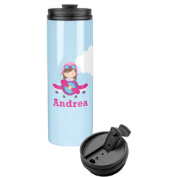 Airplane & Girl Pilot Stainless Steel Tumbler (Personalized)