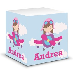 Airplane & Girl Pilot Sticky Note Cube (Personalized)