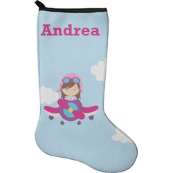 Airplane & Girl Pilot Christmas Stocking - Neoprene (Personalized)