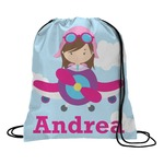 Airplane & Girl Pilot Drawstring Backpack (Personalized)