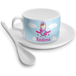 Airplane & Girl Pilot Tea Cup - Single (Personalized)