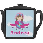 Airplane & Girl Pilot Teapot Trivet (Personalized)