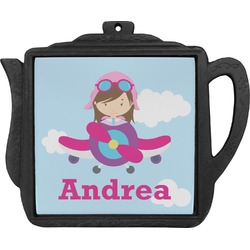 Airplane & Girl Pilot Teapot Trivet (Personalized)