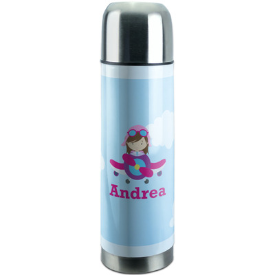 Airplane & Girl Pilot Stainless Steel Thermos (Personalized)