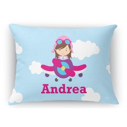Airplane & Girl Pilot Rectangular Throw Pillow Case (Personalized)