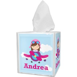 Airplane & Girl Pilot Tissue Box Cover (Personalized)